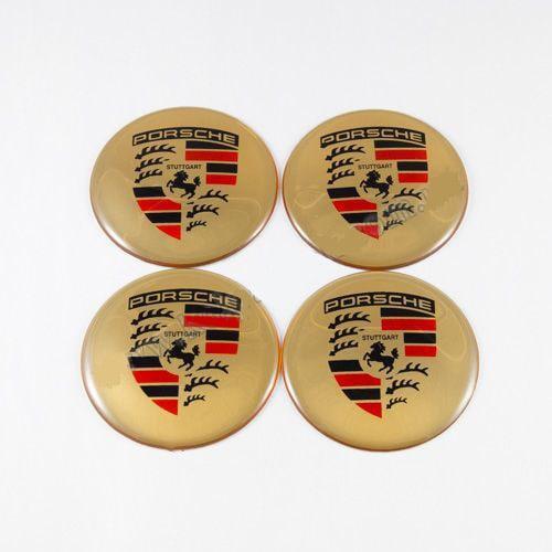 Наклейки для колесных колпачков в легкосплавные диски с логотипом   Porsche золотые/цветной лого (65 мм)