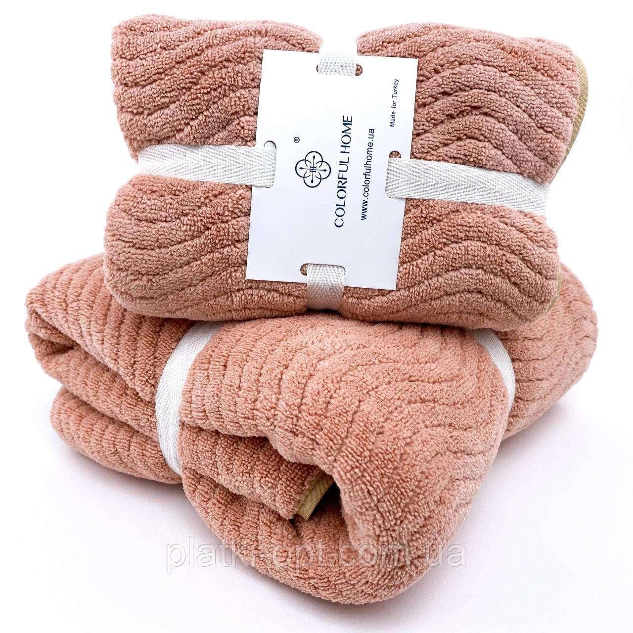 Комплект полотенец Волна (микрофибра) пудра