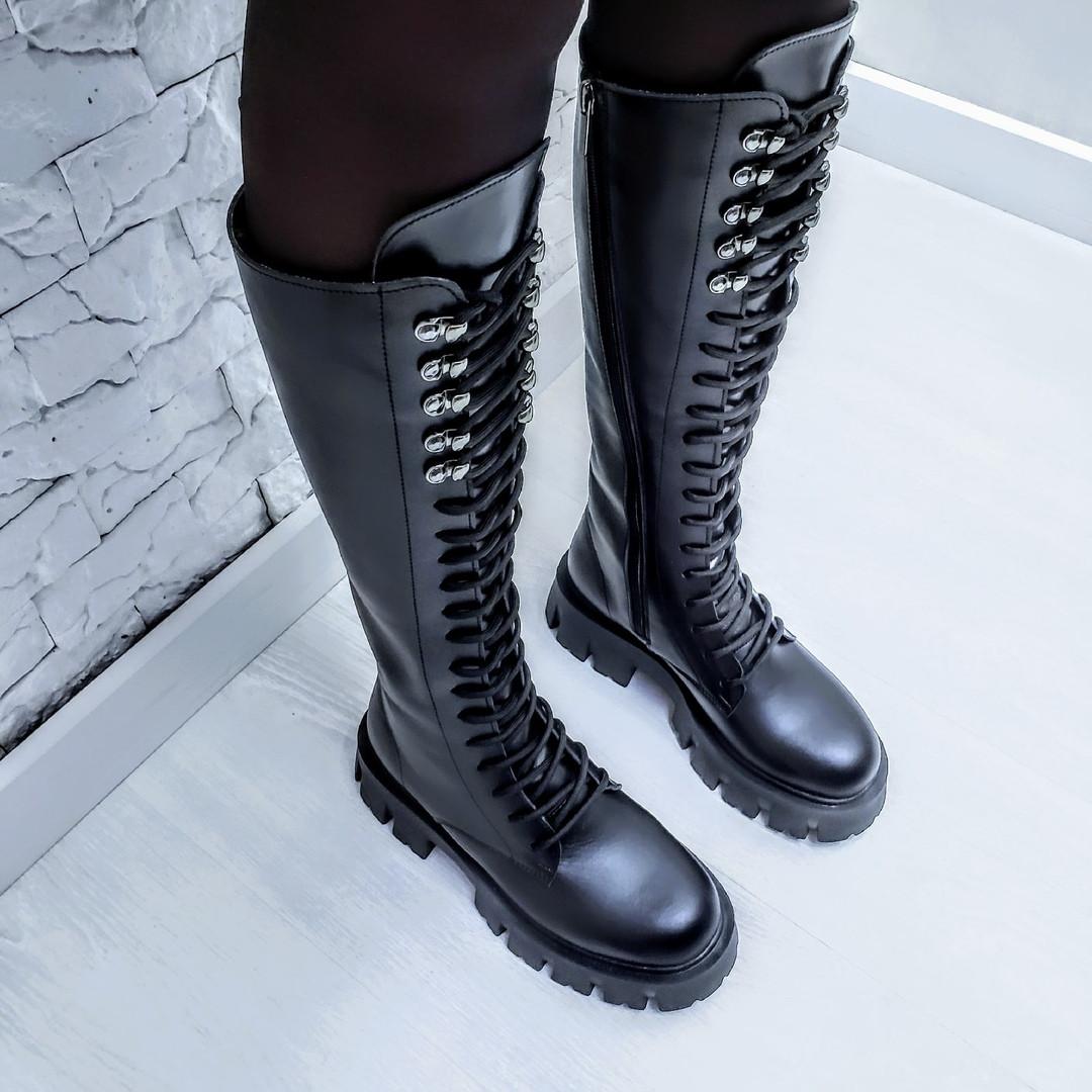 Ботинки кожаные черные высокие