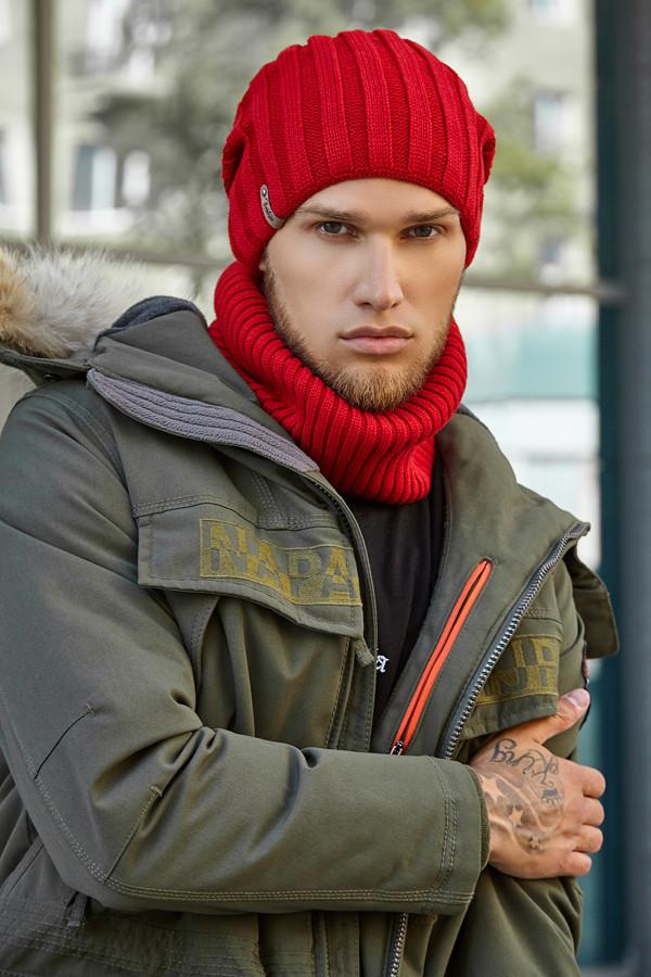 Стильный Мужской комплект «Монблан» шапка и шарф,Красный
