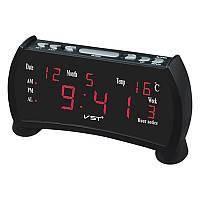 Часы сетевые VST-761WX-1 (2xAAA) красные 220V