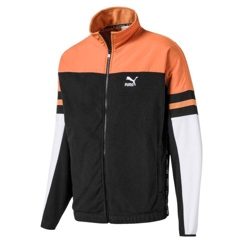 Толстовка спортивная мужская Puma XTG Woven Jacket 595318 51 (черная с оранжевым, флис, теплая, логотип пума)