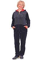 Женский велюровый спортивный костюм с капюшоном (размеры XL-4XL)