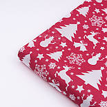 """Ткань хлопковая """"Снеговики, ёлки, олени"""" белые на красном (№484), фото 3"""