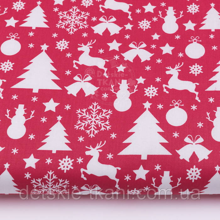 """Ткань хлопковая """"Снеговики, ёлки, олени"""" белые на красном (№484)"""