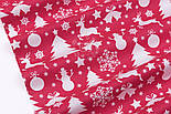 """Ткань хлопковая """"Снеговики, ёлки, олени"""" белые на красном (№484), фото 4"""