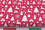 """Ткань хлопковая """"Снеговики, ёлки, олени"""" белые на красном (№484), фото 5"""