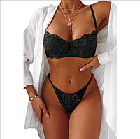 Черное эротическое женское кружевное белье