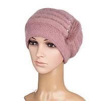 Вязаная женская шапка Anna ангора пудрового цвета, фото 1