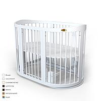 Овальная кроватка-трансформер 9-в-1 SMART BED ROUND MOON с фигурным бортиком