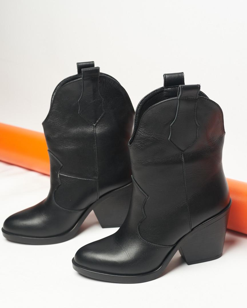 Казаки ботинки черные кожаные