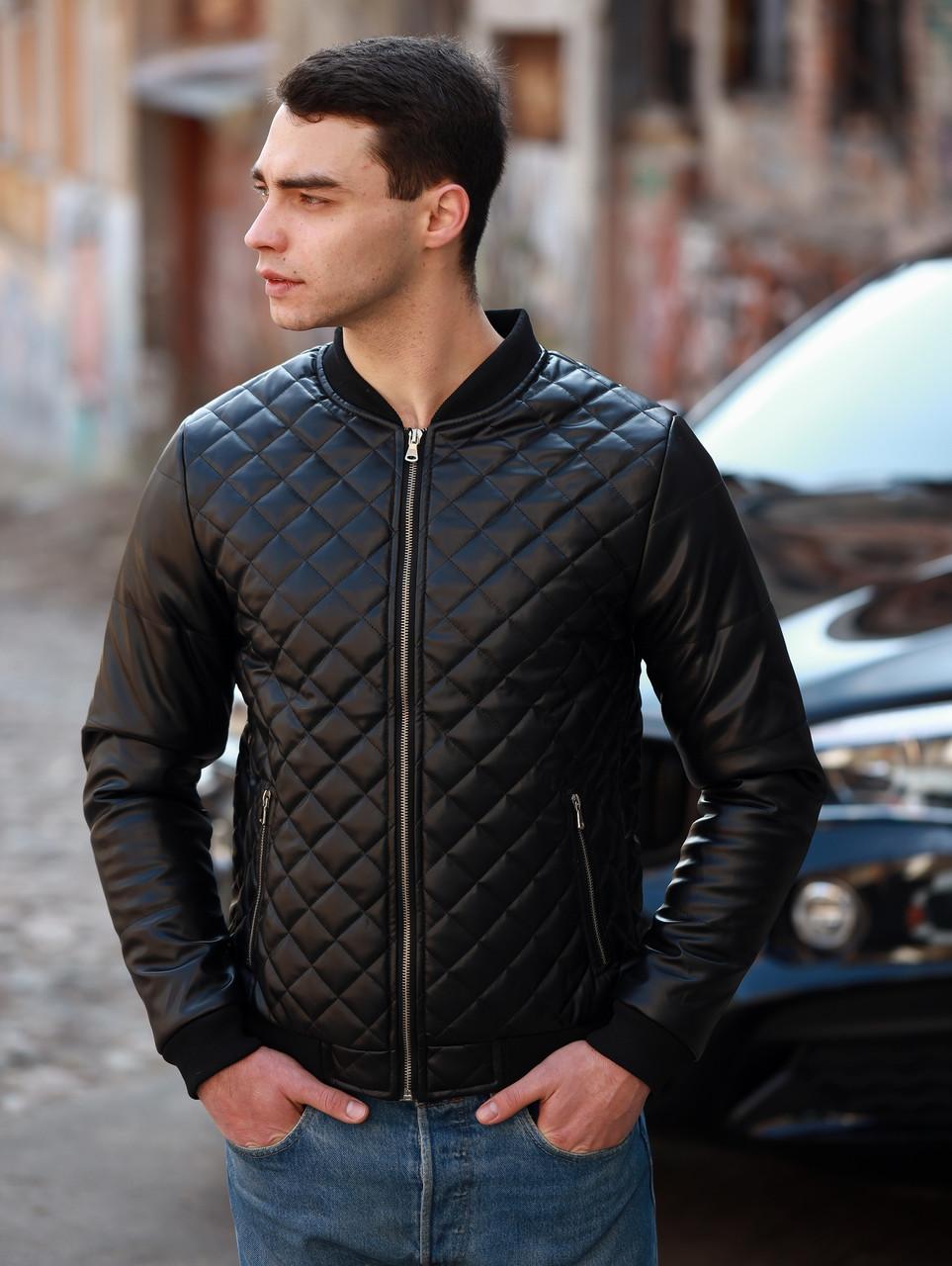 Мужская стеганая черная кожаная куртка