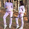 Женский велюровый костюм-двойка с капюшоном в спортивном стиле