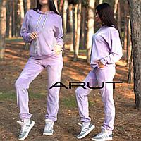 Женский велюровый костюм-двойка с капюшоном в спортивном стиле, фото 1