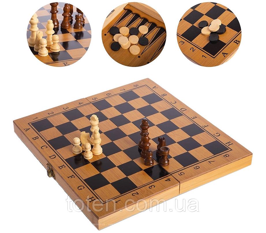 Шахи, шашки, нарди 3 в 1 бамбукові B 3135 (фігурки-дерево, дошка 34x34 см) Т