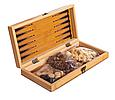 Шахматы, шашки, нарды 3 в 1 бамбуковые B 3135 (фигурки-дерево, доска 34x34 см) Т, фото 2