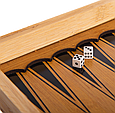 Шахматы, шашки, нарды 3 в 1 бамбуковые B 3135 (фигурки-дерево, доска 34x34 см) Т, фото 7