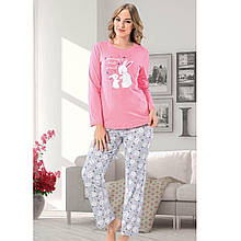 Пижама для девушек брючная для сна трикотажная хлопковая S-XL