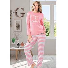 Піжама для дівчат рожева брючна для сну бавовняна Belive S-XL