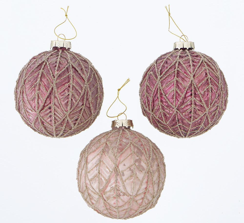 Набор новогодних шаров из 3-х шт лакированное стекло микс d10см Boltze 2001901