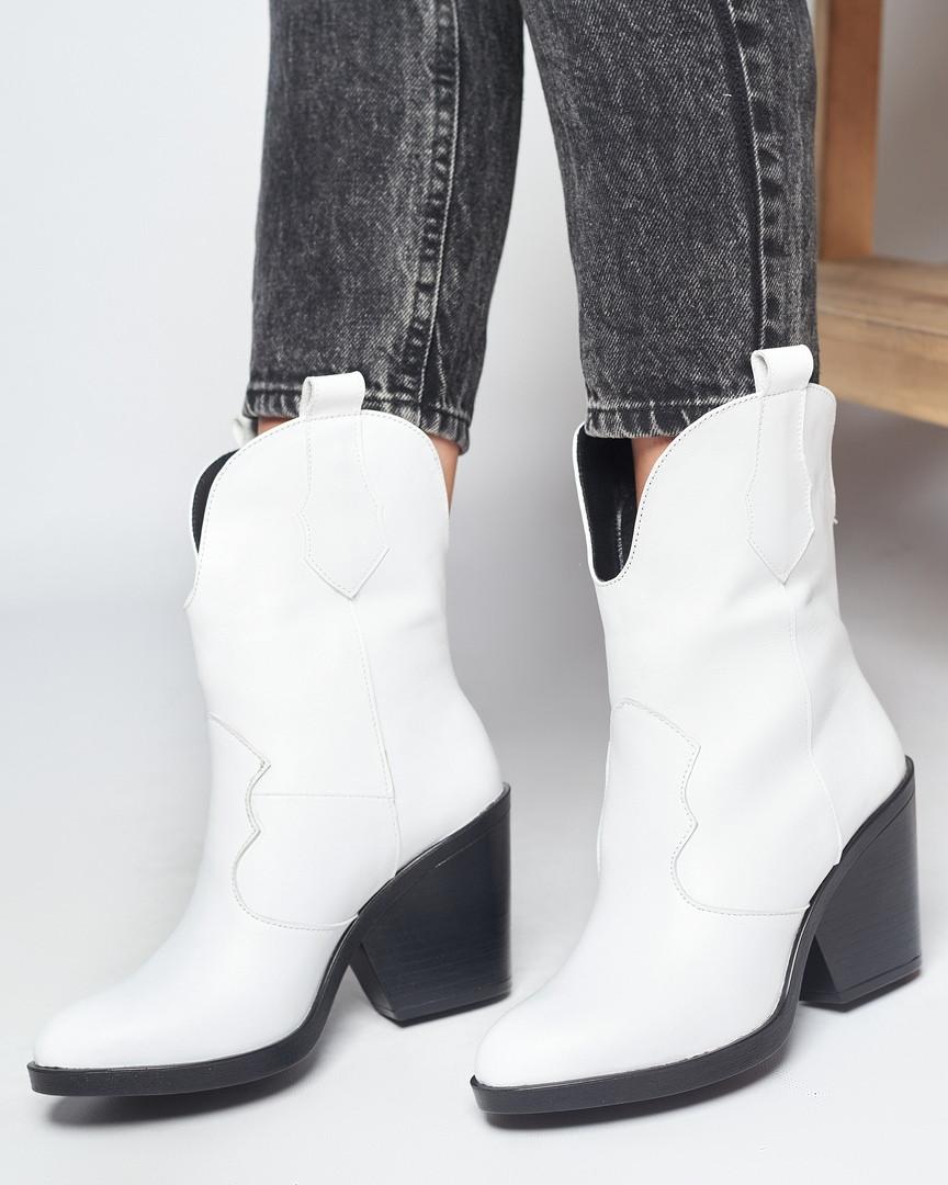 Казаки ботинки белые кожаные