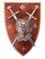 Панно: мини-меч Эскалибур мини-меч Карла Великого кираса на щите (DA)