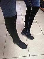 Ботфорты, сапоги высокие женские натуральные замшевые низкий каблук 3см европейка чёрные 41 размер