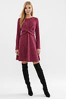 Красивое трикотажное платье короткое свободного кроя бордовое