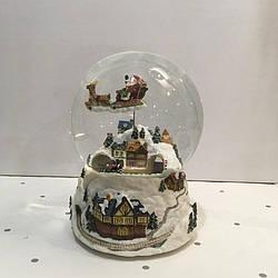 Музыкальный снежный шар дом с Санта-Клаусом