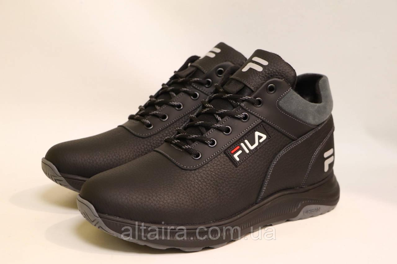 Мужские зимние кожаные ботинки черного цвета. Размеры 42-45.