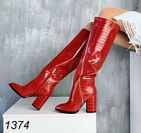 Червоні сапоги жіночі, фото 1