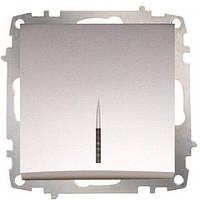 Выключатель 1-ый с подсветкой модуль серебряный EL-BI Zena