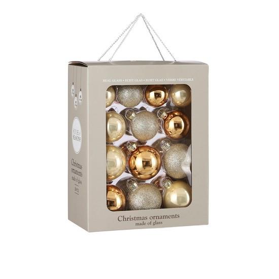 """Елочные шарики 26 шт, Ø 7/6/5 см, """"House of Seasons"""" комплект, цвет шампань"""