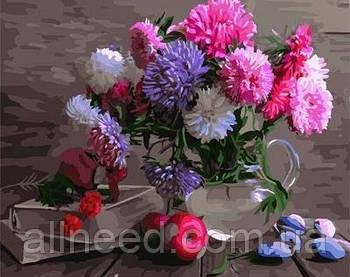 Картина по номерам цветы Разноцветные астры