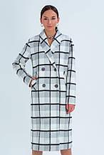 Пальто женское шерстяное зимнее в клетку Шанталь серо-белый цвет