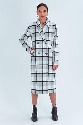 Пальто женское шерстяное зимнее в клетку Шанталь серо-белый цвет, фото 2