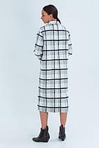 Пальто женское шерстяное зимнее в клетку Шанталь серо-белый цвет, фото 3