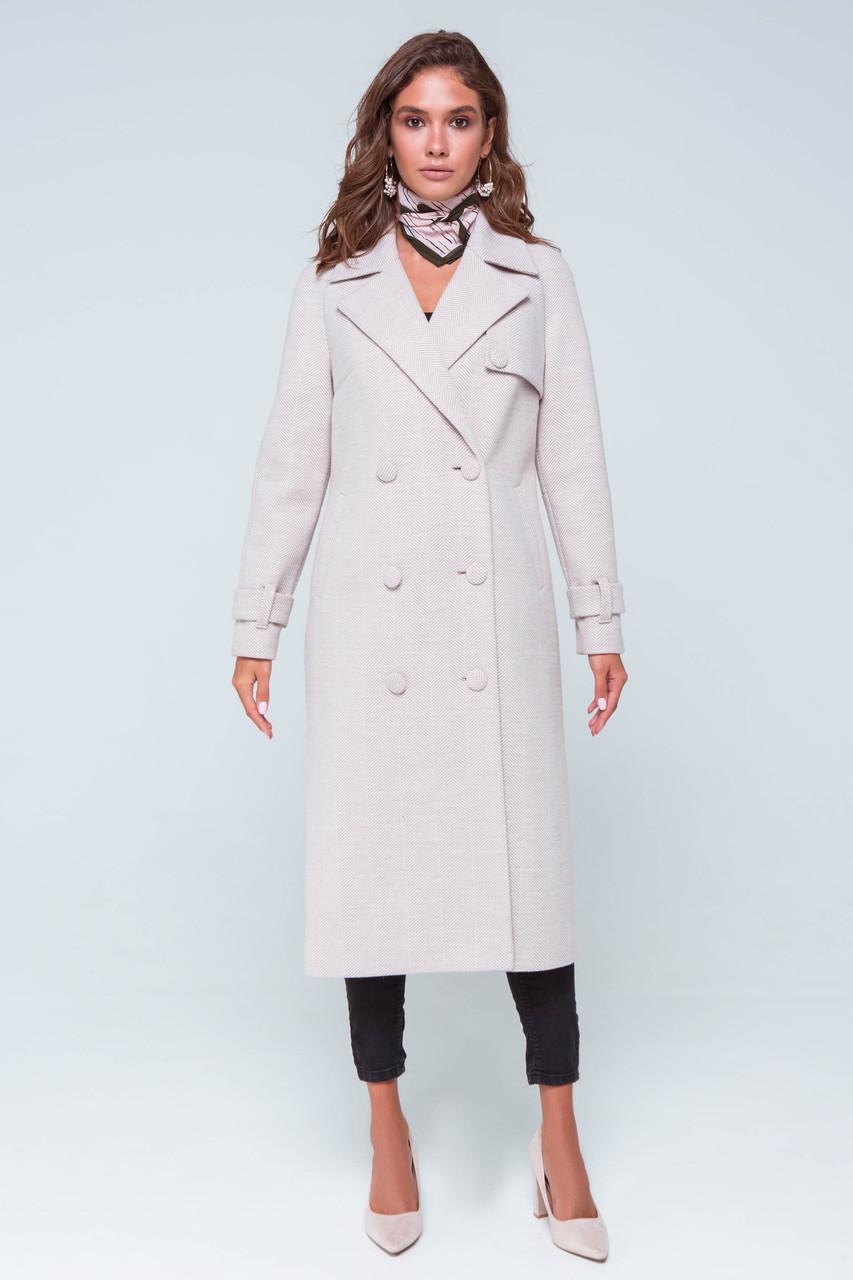 Пальто женское шерстяное длинное демисезонное Ивона бежевый цвет