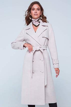 Пальто женское шерстяное длинное демисезонное Ивона бежевый цвет, фото 2