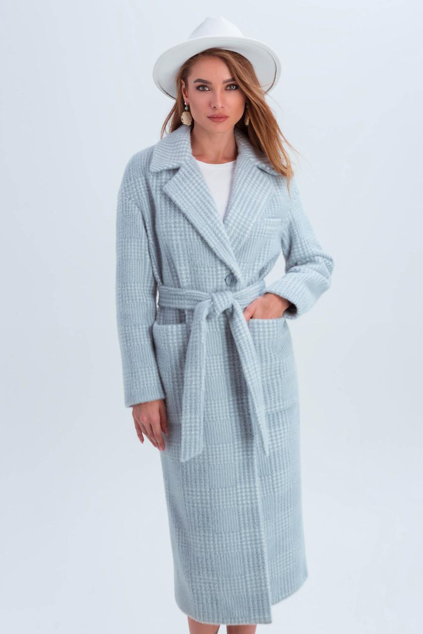 Пальто женское в клетку длинное демисезонное из ткани эко мех Элизабет голубой цвет