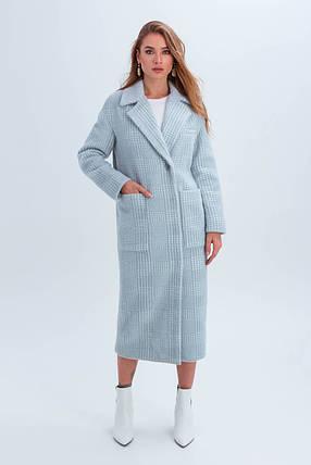 Пальто женское в клетку длинное демисезонное из ткани эко мех Элизабет голубой цвет, фото 2
