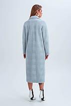 Пальто женское в клетку длинное демисезонное из ткани эко мех Элизабет голубой цвет, фото 3