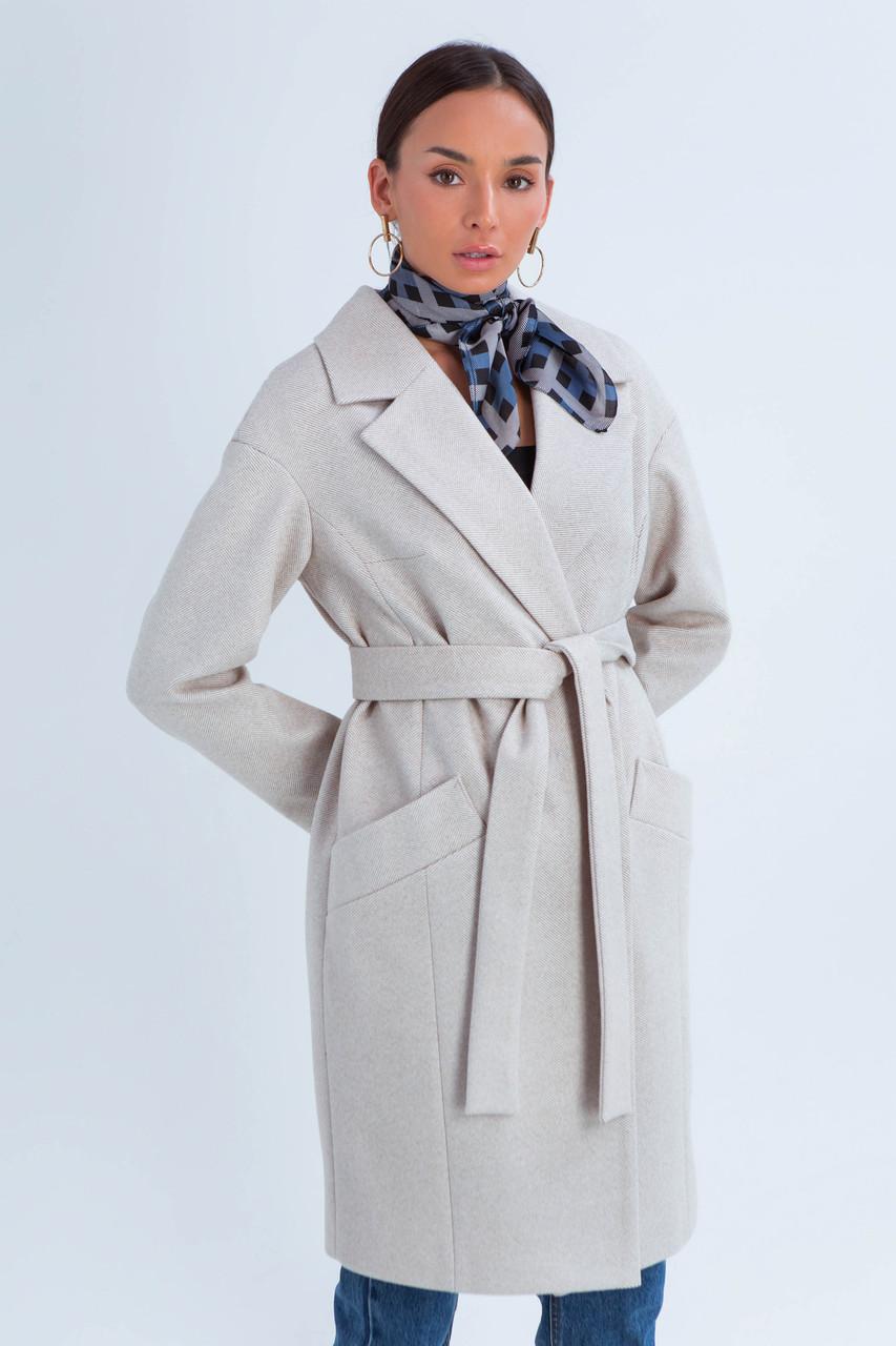 Пальто женское демисезонное Джил светло-бежевый цвет