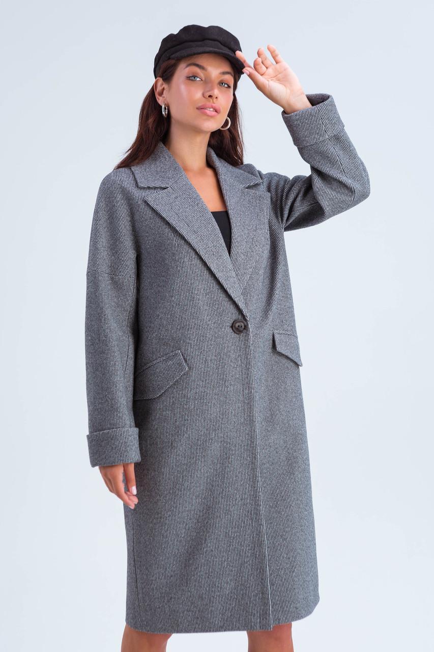 Пальто женское демисезонное Деми черно-белый цвет