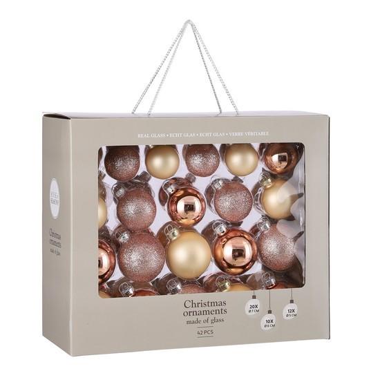 """Елочные шарики 42 шт, Ø 7/6/5 см, """"House of Seasons"""" комплект, цвет розовый"""