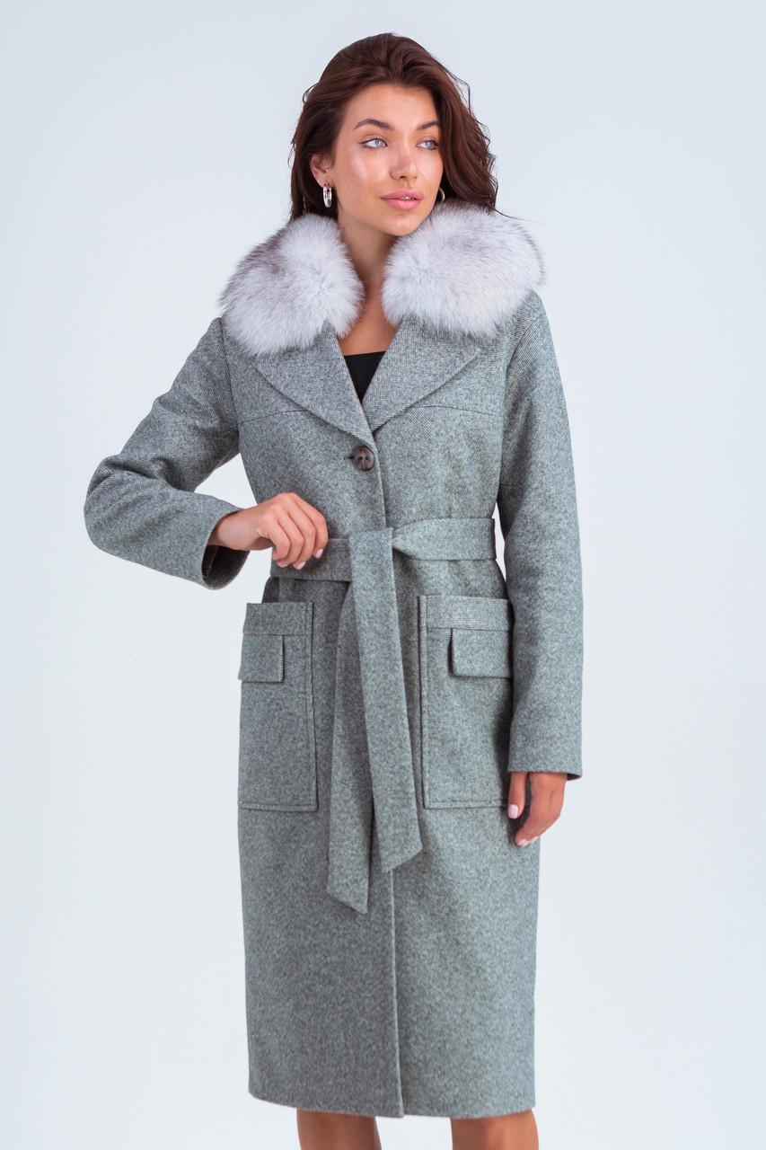 Пальто женское шерстяное зимнее с мехом Кристи серый цвет