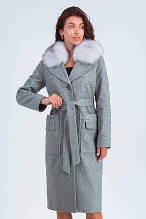 Пальто женское шерстяное зимнее с мехом Кристи серый цвет, фото 2