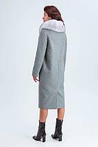Пальто женское шерстяное зимнее с мехом Кристи серый цвет, фото 3