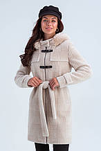 Пальто женское короткое шерстяное зимнее в клетку с мехом Корделия бежевый цвет