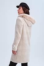 Пальто женское короткое шерстяное зимнее в клетку с мехом Корделия бежевый цвет, фото 3